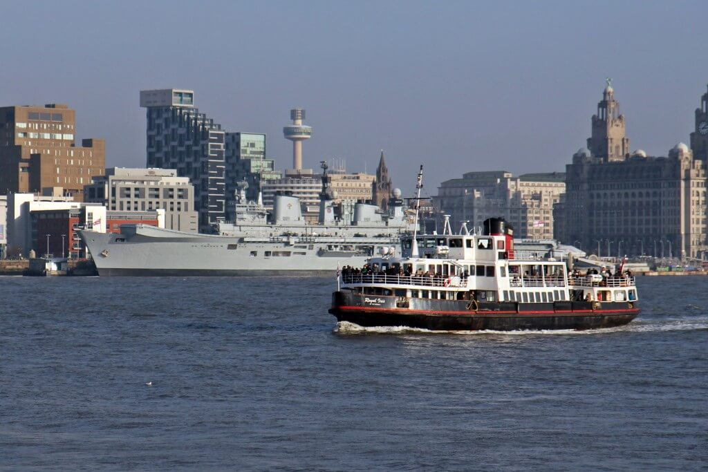 Mersey_Ferry_Royal_Iris_and_HMS_Illustrious,_River_Mersey_(geograph_3786310)